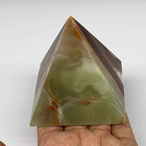 "411.1g, 3.1""x2.9"" Natural Large Green Onyx Pyramid Gemstone @Pakistan, B7581"