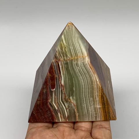 "428.4g, 3.1""x3"" Natural Large Green Onyx Pyramid Gemstone @Pakistan, B7582"