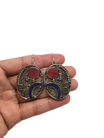 Vintage Nepalese Tribal Red Coral, Lapis Lazuli Inlay Statement Earring,NPE37 - watangem.com