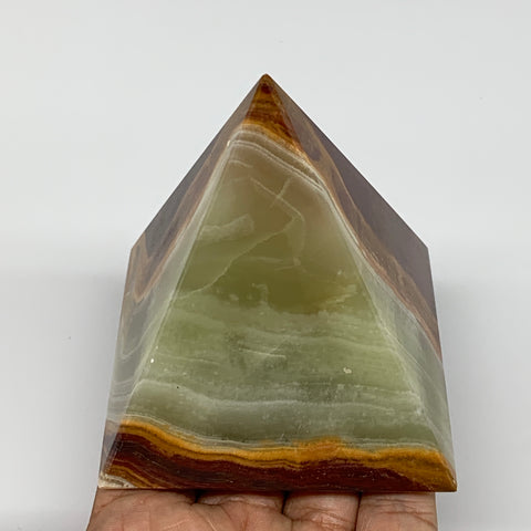 "443g, 3.2""x3"" Natural Large Green Onyx Pyramid Gemstone @Pakistan, B7585"