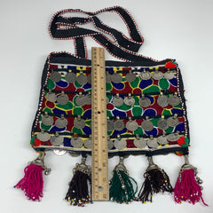 "564g,10""x7.75""Turkmen Handbag Purse Crossbody Handmade Silk Coin @Afghanistan,P1"