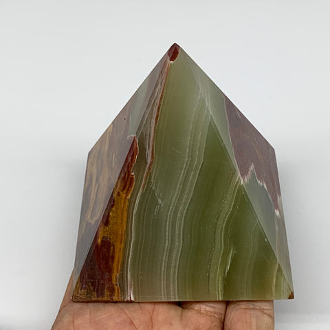 "445.1g, 3.1""x3"" Natural Large Green Onyx Pyramid Gemstone @Pakistan, B7588"