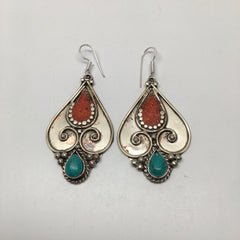 21.7 Grams Vintage Nepalese Tribal Red Coral, Green Turquoise Inlay Earrings, E5