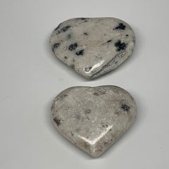 "75.1g,1.6"", 2pcs, Natural Black K2 Heart Polished Healing Crystal @Pakistan,B103"