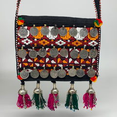 "492g,9""x7""Turkmen Handbag Purse Crossbody Handmade Silk Coin @Afghanistan,P134"