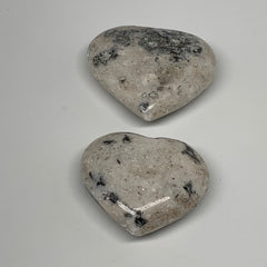 "83.5g,1.6""-1.7"", 2pcs, Natural Black K2 Heart Polished Healing Crystal @Pakistan"