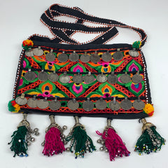 "468g,10.5""x7""Turkmen Handbag Purse Crossbody Handmade Silk Coin @Afghanistan,P13"