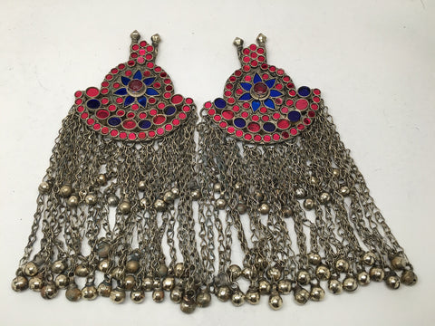 2x Pair Vintage Afghan Kuchi Pendant Jingle Chain Boho ATS Statement,KC274