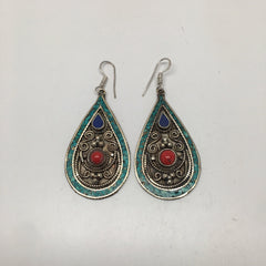 Vintage Nepalese Tribal Red Coral, Lapis, Turquoise Inlay Dangle Earring, E118 - watangem.com