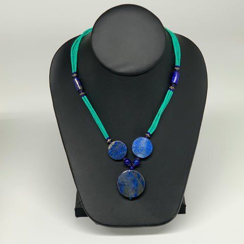 33.5g, 2mm-27mm, Lapis Lazuli With Synthetic Turquoise Beaded Necklace, P169