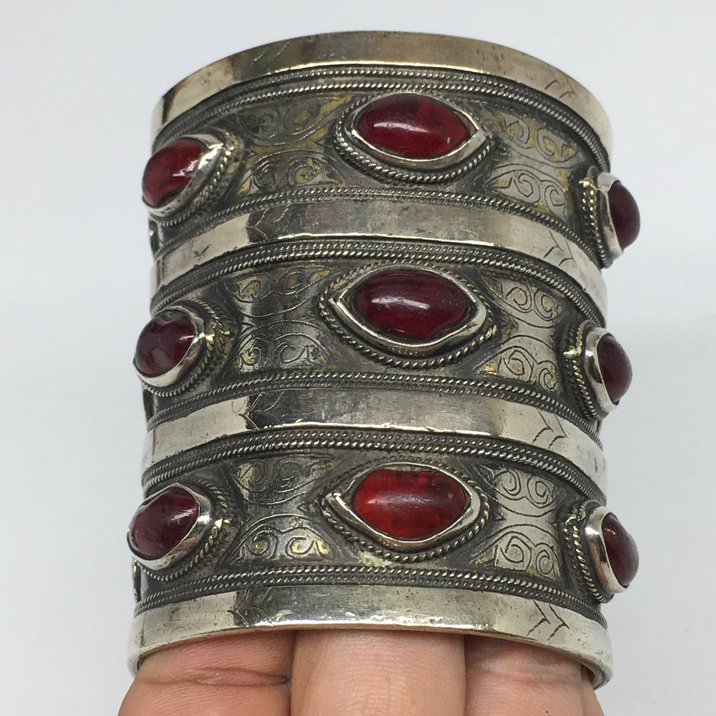 "173.7g, 3.1x2.5"" Turkmen Bracelet Cuff Old Vintage Gold-Gilded Statement,TN696"