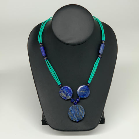 39.2g, 2mm-28mm, Lapis Lazuli With Synthetic Turquoise Beaded Necklace, P171
