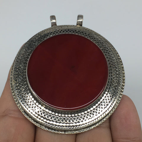 "1pc, 2.4""x2.2""x0.5"",Turkmen Pendant Red Carnelian Round Shape Statement,TN705"