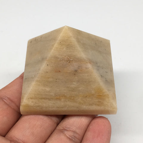 "117.7g,2""x1.6"" Natural Yellow Aventurine Pyramid Gemstone Crystal @India,MF3524"