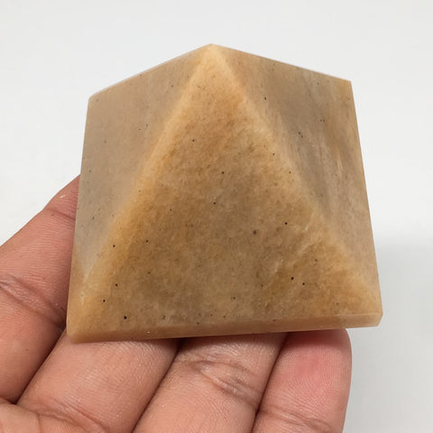 "124.2g,2""x1.6"" Natural Yellow Aventurine Pyramid Gemstone Crystal @India,MF3525"
