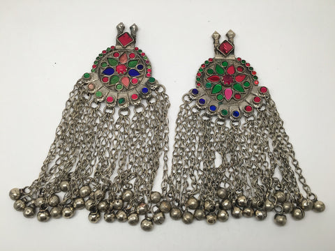 2x Pair Vintage Afghan Kuchi Pendant Jingle Bells Chain Boho ATS Statement,KC314
