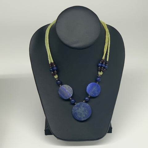 "49g, 1mm-30mm, 21"" Lapis Lazuli With Green Serpentine Beaded Necklace, P191"