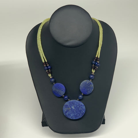"56.9g, 1mm-34mm, 21"" Lapis Lazuli With Green Serpentine Beaded Necklace, P192"