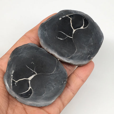 "1 Pair, 171.8g,2.4""x2.1"" Natural Unique Septarian Nodules Slabs @Morocco,MF3543"