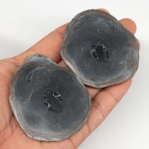"1 Pair, 144.2g,2.5""x2.2"" Natural Unique Septarian Nodules Slabs @Morocco,MF3547"