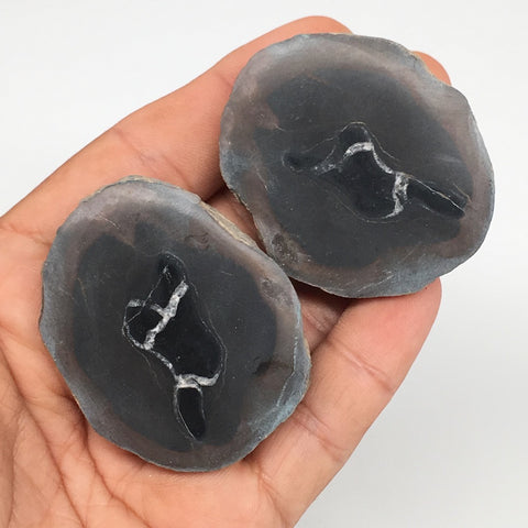 "1 Pair, 90.5g,1.9""x1.6"" Natural Unique Septarian Nodules Slabs @Morocco,MF3549"