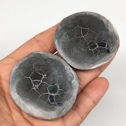 "1 Pair, 112.5g,2""x1.9"" Natural Unique Septarian Nodules Slabs @Morocco,MF3550"