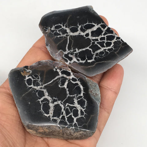 "1 Pair, 161.4g,2.8""x2"" Natural Unique Septarian Nodules Slabs @Morocco,MF3551"