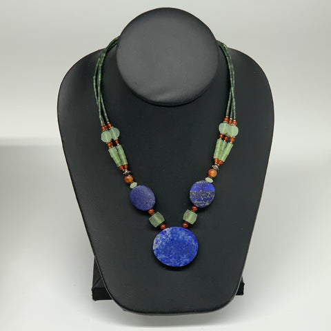 "41.7g, 1mm-29mm, 21"" Lapis Lazuli With Green Serpentine Beaded Necklace, P207"