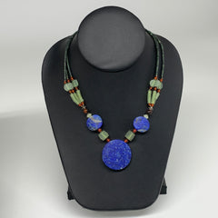 "41.8g, 1mm-33mm, 21"" Lapis Lazuli With Green Serpentine Beaded Necklace, P208"