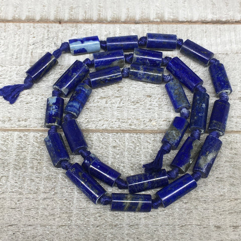 31.8g,11mm-16mm, Natural Lapis Lazuli Polished Tube Beads Strand,26 Beads,LPB526