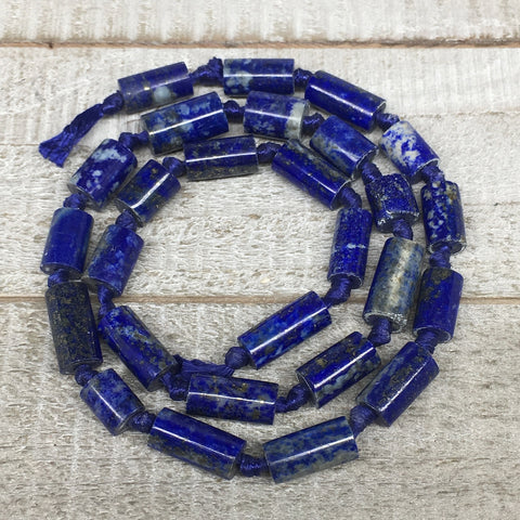 31.7g,8mm-14mm, Natural Lapis Lazuli Polished Tube Beads Strand,27 Beads,LPB527