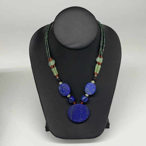"51.6g, 1mm-31mm, 21"" Lapis Lazuli With Green Serpentine Beaded Necklace, P211"