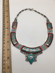 Ethnic Tribal Nepalese tribal Red Coral & Turquoise Inlay Boho Necklace,E213 - watangem.com