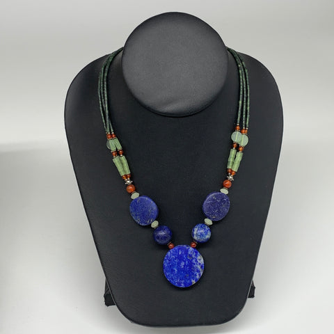 "48.9g, 1mm-29mm, 21"" Lapis Lazuli With Green Serpentine Beaded Necklace, P212"