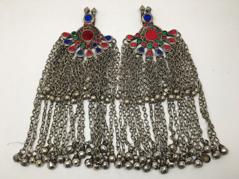 2x Pair Vintage Afghan Kuchi Pendant Jingle Bells Chain Boho Statement,KC349