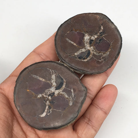 "1 Pair,109.3g,2""x1.9"" Natural Unique Septarian Nodules Slabs @Morocco,MF3568"