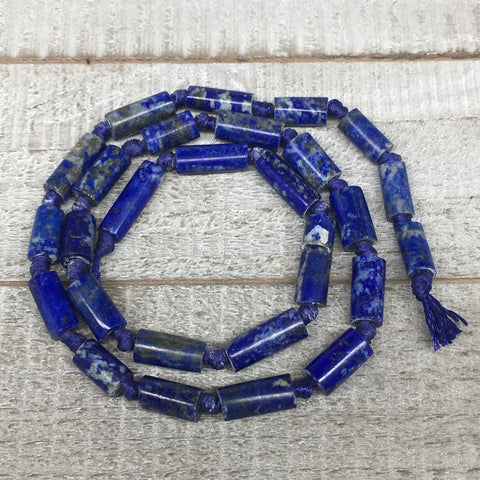26g,10mm-17mm, Natural Lapis Lazuli Polished Tube Beads Strand,26 Beads,LPB530