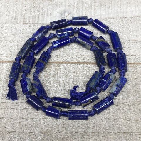 22.5g,8mm-13mm, Natural Lapis Lazuli Polished Tube Beads Strand,29 Beads,LPB531