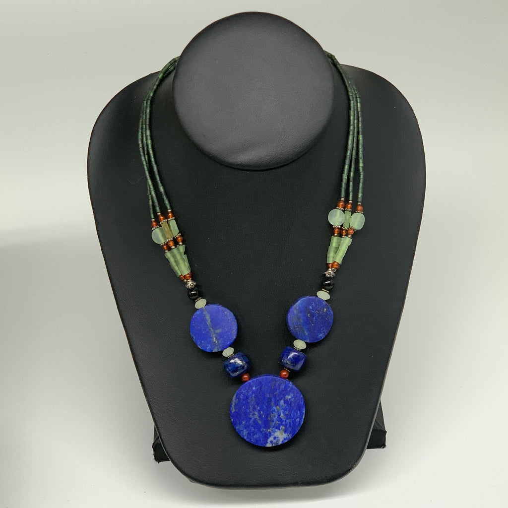 "52.4g, 1mm-34mm, 21"" Lapis Lazuli With Green Serpentine Beaded Necklace, P214"