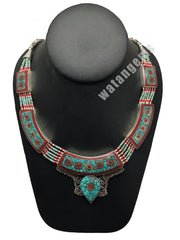 Ethnic Tribal Nepalese tribal Red Coral & Turquoise Inlay Boho Necklace, E230 - watangem.com
