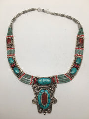 Ethnic Tribal Nepalese tribal Red Coral & Turquoise Inlay Boho Necklace, E231 - watangem.com