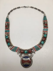 Ethnic Tribal Nepalese tribal Lapis, Red Coral & Turquoise Inlay Necklace, E233 - watangem.com