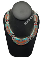 Ethnic Tribal Nepalese tribal Lapis, Red Coral & Turquoise Inlay Necklace, E242 - watangem.com
