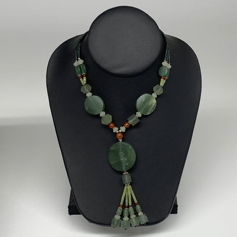 "54.8g, 1mm-30mm, 21"" Natural Untreated Green Serpentine Beaded Necklace, P223"
