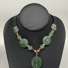"55g, 1mm-31mm, 21"" Natural Untreated Green Serpentine Beaded Necklace, P226"