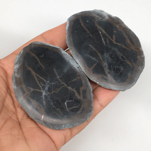 "1 Pair,156.2g,2.6""x1.8"" Natural Unique Septarian Nodules Slabs @Morocco,MF3586"