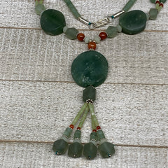 "61.4g, 1mm-30mm, 21"" Natural Untreated Green Serpentine Beaded Necklace, P229"