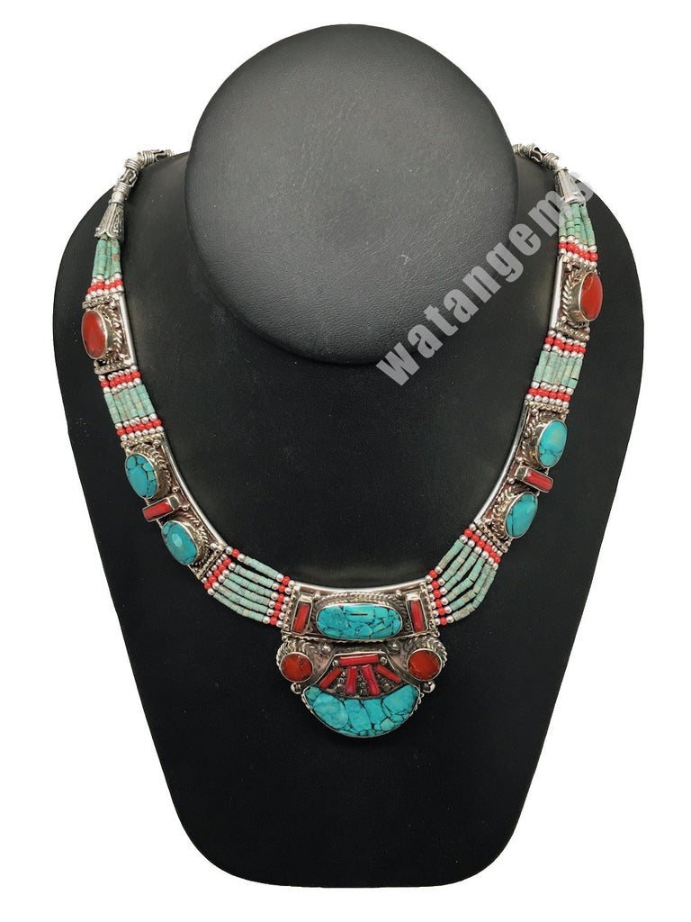 Ethnic Tribal Nepalese tribal Green Turquoise & Red Coral Inlay Necklace, E259 - watangem.com