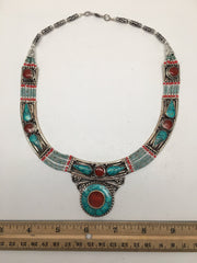 Ethnic Tribal Nepalese tribal Green Turquoise & Red Coral Inlay Necklace, E260 - watangem.com