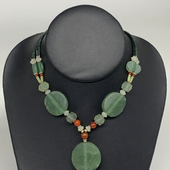 "56.6g, 1mm-28mm, 21"" Natural Untreated Green Serpentine Beaded Necklace, P231"